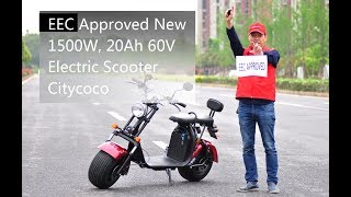 EEC Approved New 1500W, 20Ah 60V Electric Scooter Citycoco by China Factory