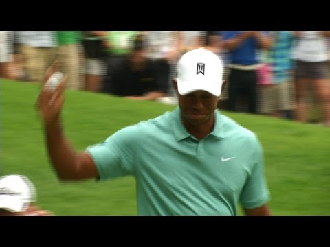 Tiger Woods closes Round 1 with a 19-foot birdie putt at The Greenbrier