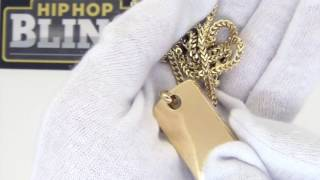 HipHopBling Gold Polished Dogtag with Franco Chain   Hip Hop Jewelry