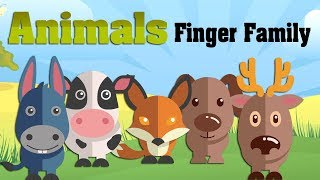 Learn Farm Animals Domestic Finger Family Song  Animals Family Nursery Rhymes Kids Children Toddlers