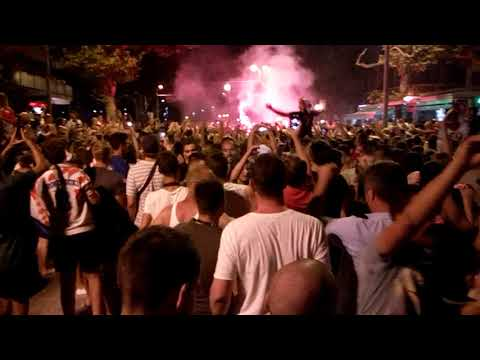 Croatian celebrating their wins in semifinal World Cup 2018. Croatia - England 2-1 11.07.2018 thumbnail