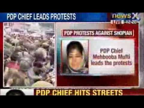 News X: J&K Protests - PDP Chief leads protest march against Shopian shootings