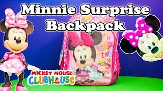 Opening the Minnie Mouse Surprise Backpack and Toys by the Assistant