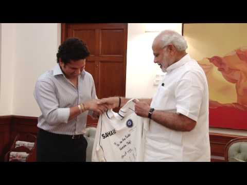 Former Indian cricketer Sachin Tendulkar calls on PM Modi