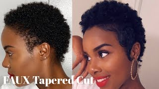 FAUX Tapered Cut + SLAYED Edges on Short Natural Hair | Creme of Nature Perfect Edges| Nia Hope