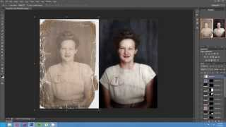 Timelapse of the Colorization and Restoration of a Damaged Photo