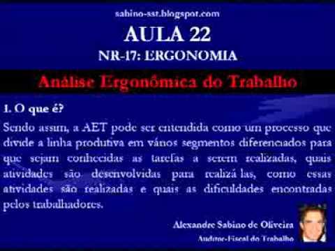 Vídeo Aula 22 NR 17 Ergonomia