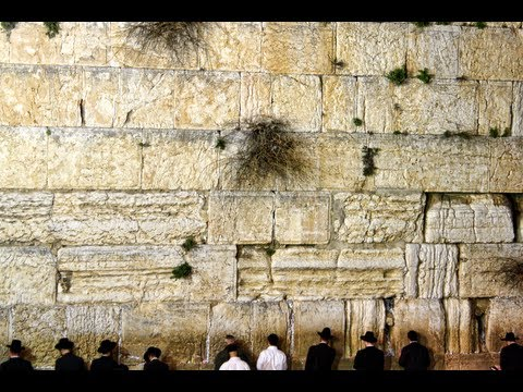 The holiest place for Jews - The Western Wall (Wailing Wall or Kotel)  a few hours before Saturday