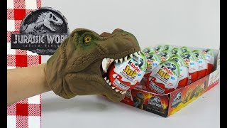 T-REX PICKS Jurassic World Fallen Kingdom Kinder Eggs DINOSAUR SURPRISE TOYS Opening