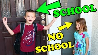 1st DAY OF SCHOOL!!! Big Brother Back To School Sister No School