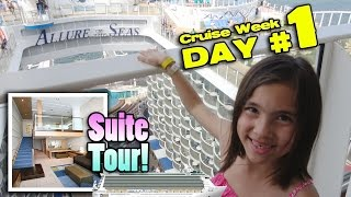 TWO STORY ROOM TOUR!! Royal Caribbean ALLURE OF THE SEAS Crown Loft Suite! [CRUISE WEEK DAY 1]