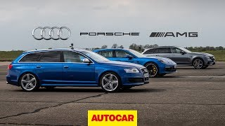 Drag Race: Tuned V10 Audi RS6 vs AMG E63 S vs Porsche Panamera Turbo | Autocar