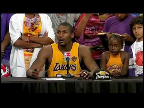 Ron Artest Messes Around In Post-Game Interview - Game 7 NBA Finals Video
