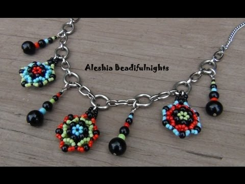 Sun Burst beaded Charm, Pendant and Earring Tutorial