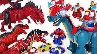 Dragon sets fire! Transformers Rescue Bots, Chomp Squad fire fighting dinosaur! Go! - DuDuPopTOY