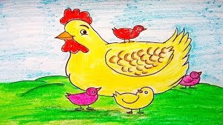 How to draw a chicken easily for kids. Draw Hen and chicks. Easy Cock drawing. Rooster drawing