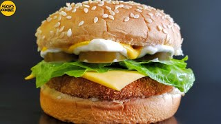 CHICKEN PATTY BURGER RECIPE | MCDONALD'S STYLE || by Aqsa's Cuisine