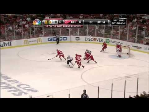 Brian Bickell hit on Niklas Kronwall May 25 2013 Detroit Red Wings vs Chicago Blackhawks NHL Hockey