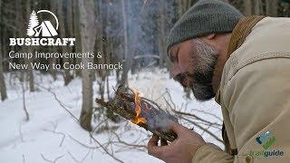 Bushcraft: Camp Improvements & New Way to Cook Bannock/Damper