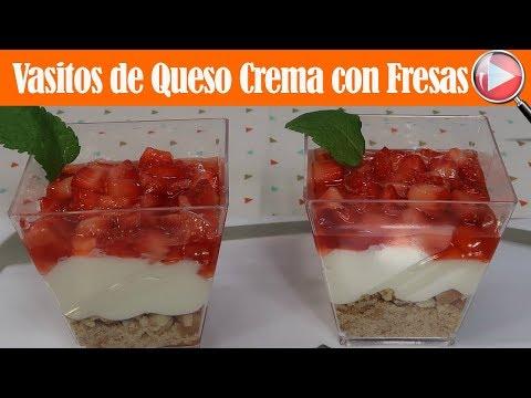 Vasitos de Queso Crema con Fresas - Para Mesa de Postres - Recetas en Casayfamiliatv