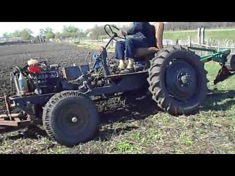 Самодельный трактор. Пахота-1
