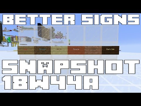 Minecraft 1.14 Snapshot 18w44a - Better signs using dyes!