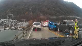 Bad accident aftermath on Knik River Bridge