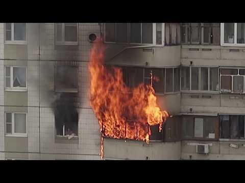 Пожар в Южном Бутове, часть 1. Виновник пожара погиб, женщину спасли!!