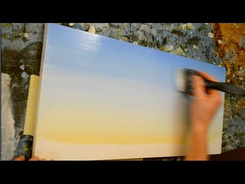 How to paint a sky acrylic painting lesson youtube for How paint on canvas