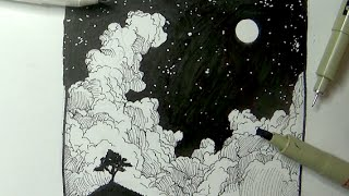 Pen & Ink Drawing Tutorials | How to draw a night sky landscape with moon, stars & clouds