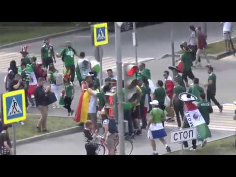 Mexican and German fans. FIFA World Cup Russia 2018.