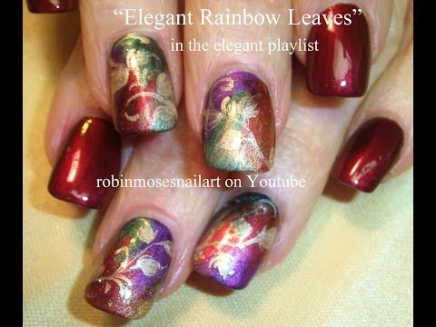 Red and Gold Autumn Leaves Nail Art   Elegant Nails Design Tutorial