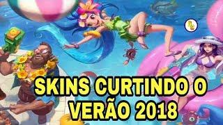 🔵NOVAS SKINS CURTINDO O VERÃO ZOE,CAITLYN E GANGPLANK LEAGUE OF LEGENDS 2018 - NEW POOLPARTY SKINS