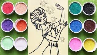 Đồ chơi trẻ em TÔ MÀU TRANH CÁT ELSA, Learn colors Sand painting toys, Coloring Elsa (Chim xinh)