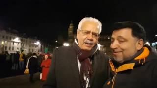 Glasgow Councillor Baillie Hanif Raja criticises Trump & his anti Muslim travel ban at demo.