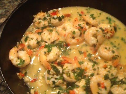 Open fire shrimp scampi - cast iron outdoor cooking - garlic shrimp recipe