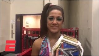 Bayley celebrates winning Money in the Bank ladder match & the WWE women's SmackDown championship