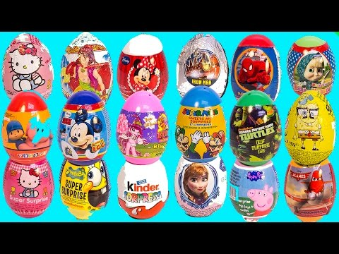 Surprise Eggs Peppa Pig Mickey Mouse Frozen Spiderman Super Mario Mawa Play Doh Eggs video