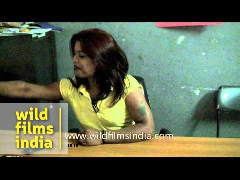 Indian transgender smiles and talks in front of camera