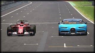 Bugatti Chiron vs Ferrari F1. Circuit and Drag test.