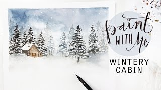 PAINT WITH ME: Winter Cabin Landscape (Watercolour Painting)