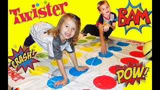 Twister Game For The First Time! Kids First Try at The Funny Family Stretching Game