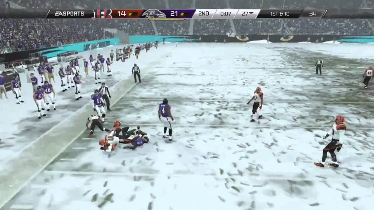 Madden 25 PLAYSTATION 4 Gameplay 100 FEET OF SNOW Ravens Vs Bengals Online Gameplay