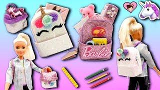 Barbie Doll Miniature School Supplies - Unicorn Backpack, Lunchbox , Pencil Case