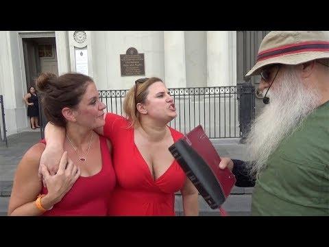 CRAZED half naked woman almost ATTACKS Street Preacher!
