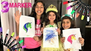 3 MARKER CHALLENGE 2 with baby sister Sally!!
