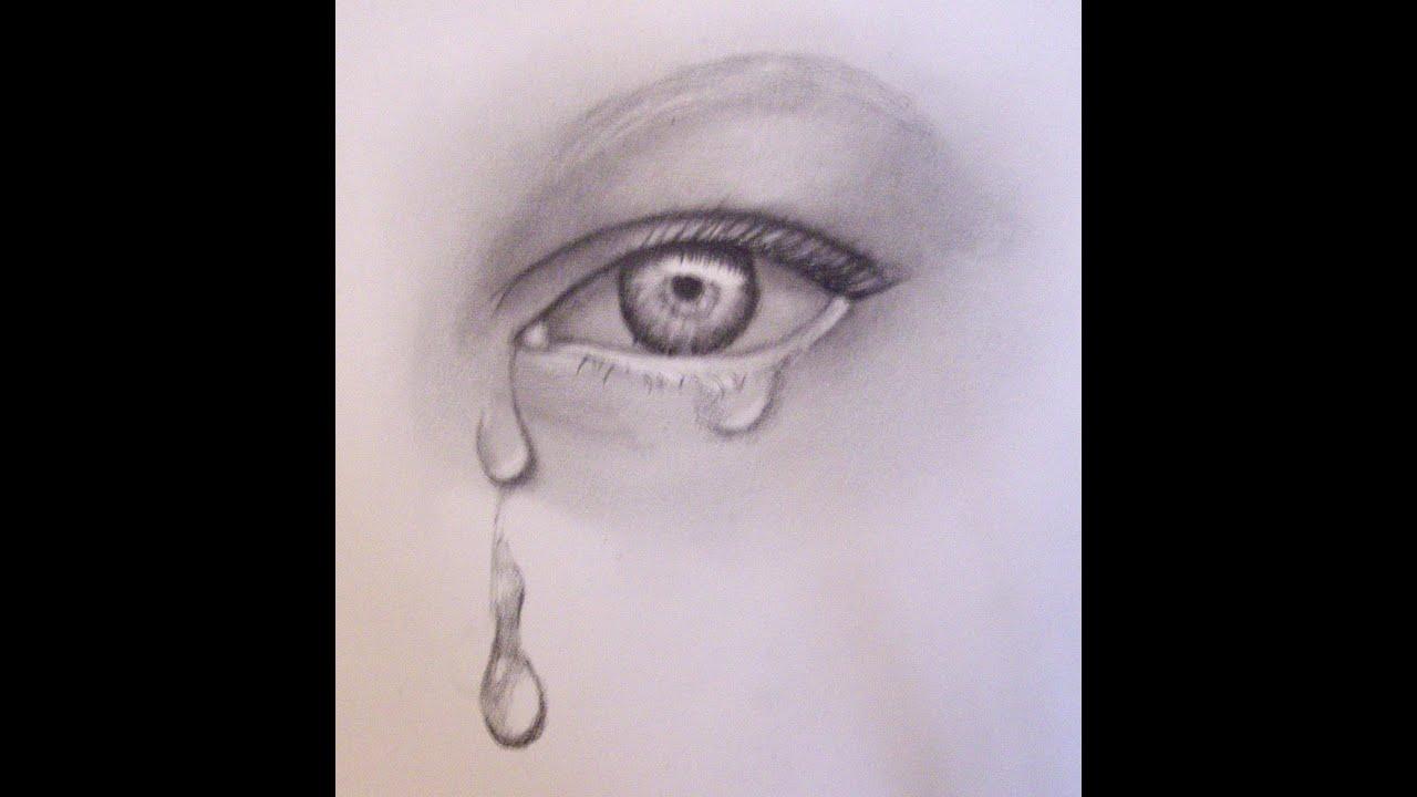 Глаз нарисованный карандашом со слезами