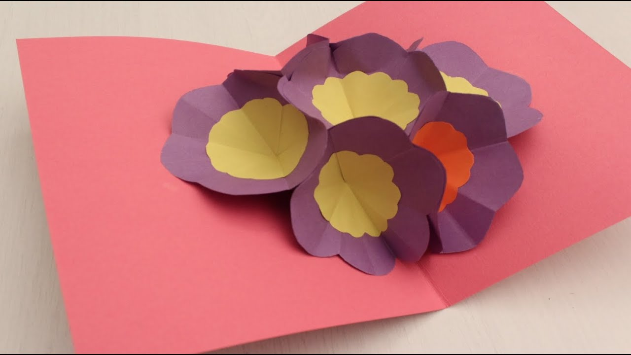 How to make a 3D Flower POP UP Greeting Card - YouTube