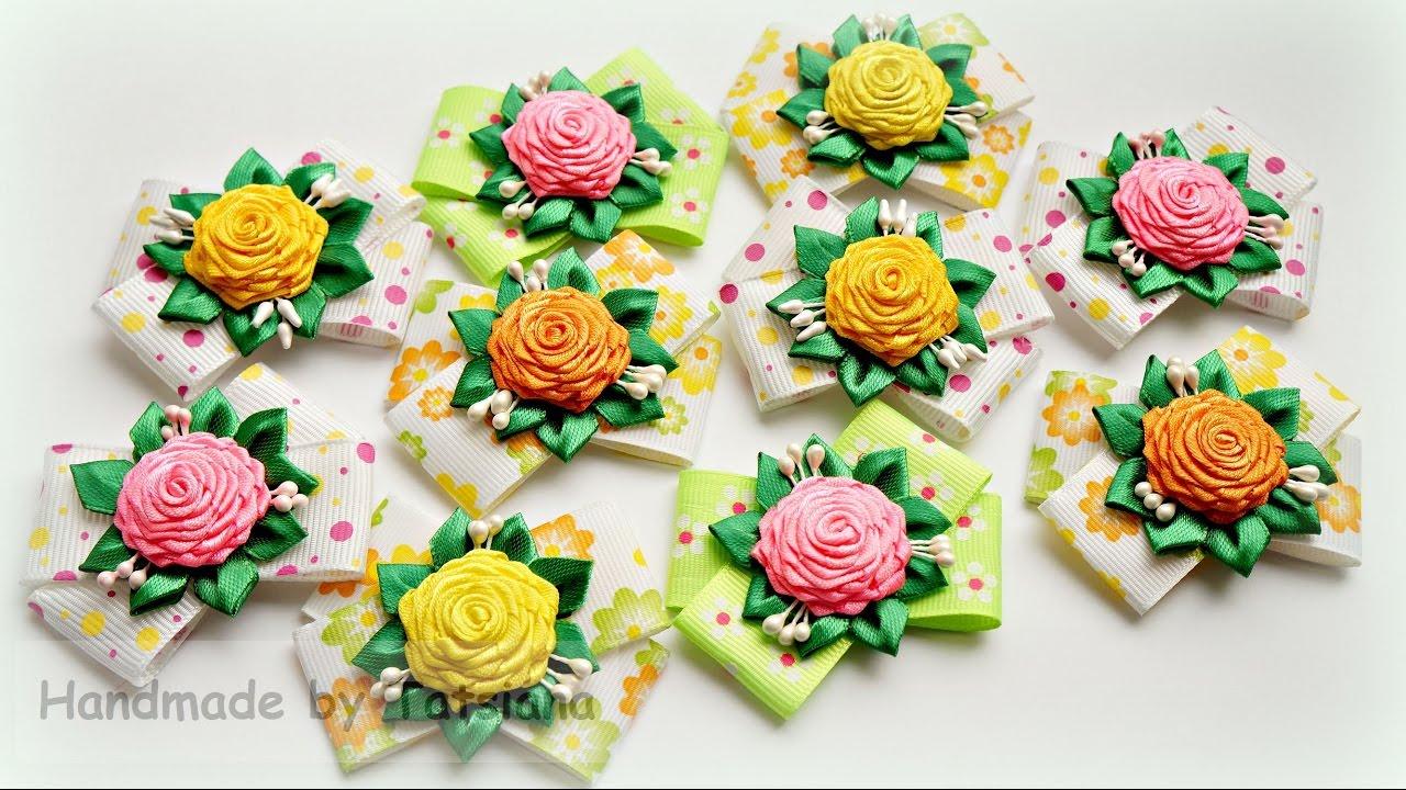 Цветочки канзаши из лент