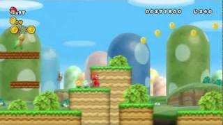New Super Mario Bros Wii Gameplay (W1, level 1, 2, 3) Full HD